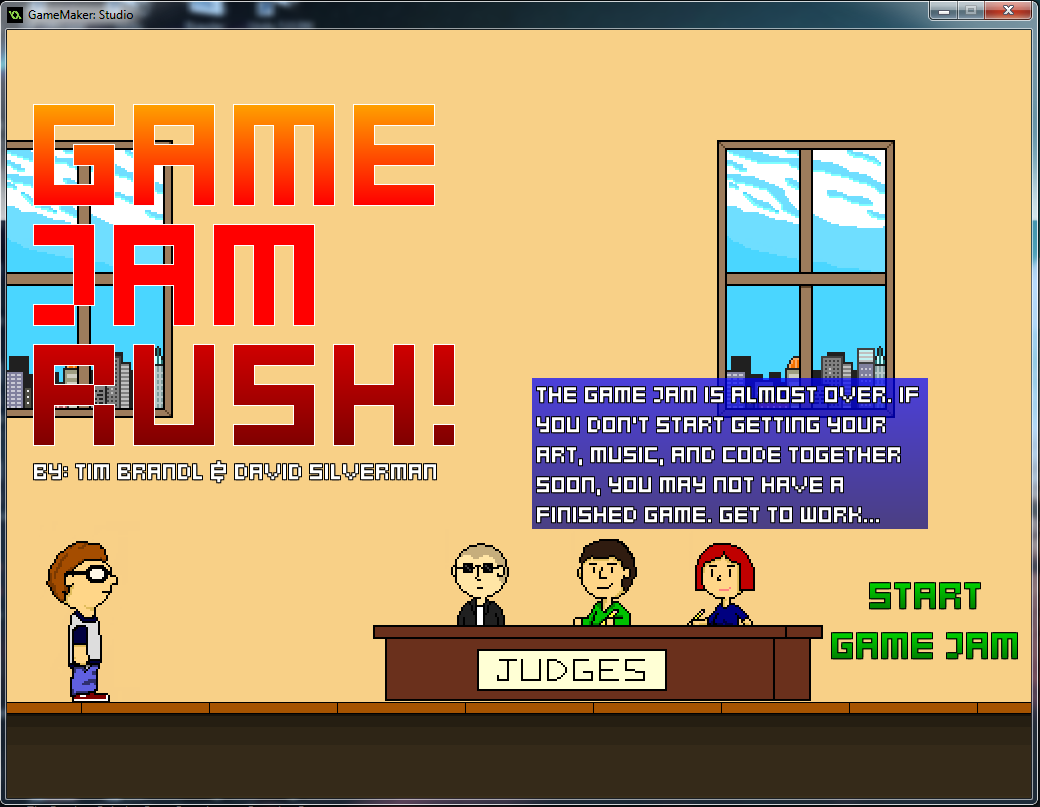 Game Jam Rush title screen