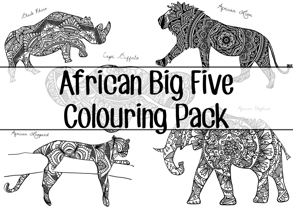 african big five colouring pack by screwy lightbulb. Black Bedroom Furniture Sets. Home Design Ideas