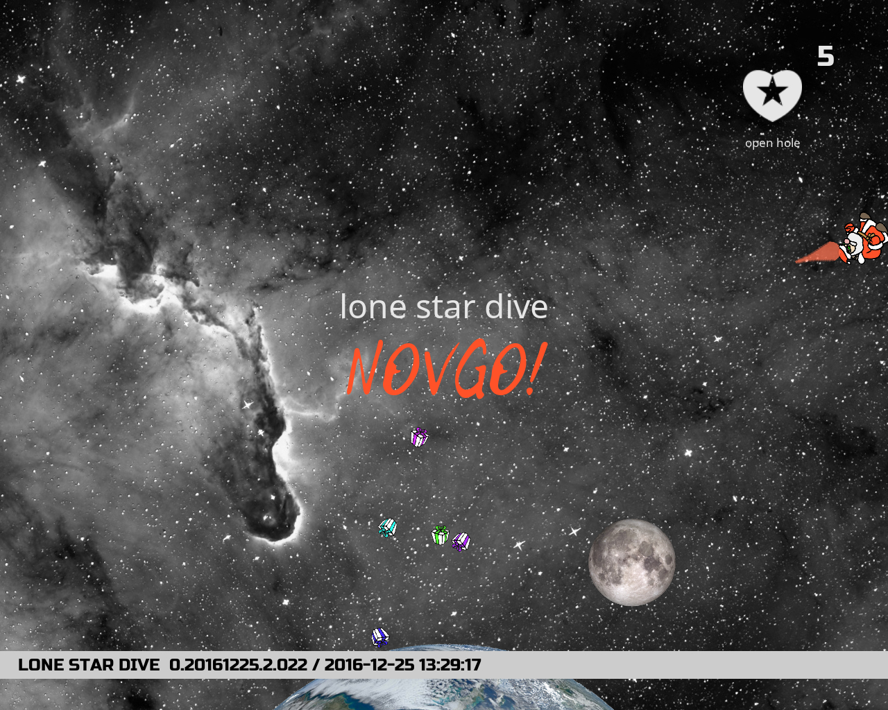 screenshot of gameplay of Lone Star Dive: NOVGO! with logo