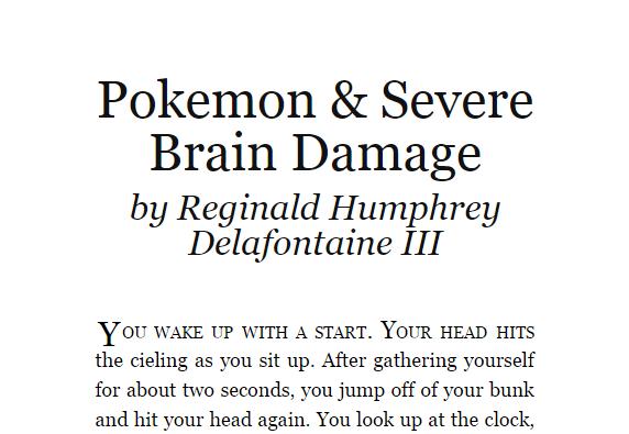 Pokemon & Severe Brain Damage